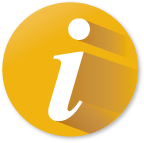 Yellow circle icon with lower-case letter i representing information