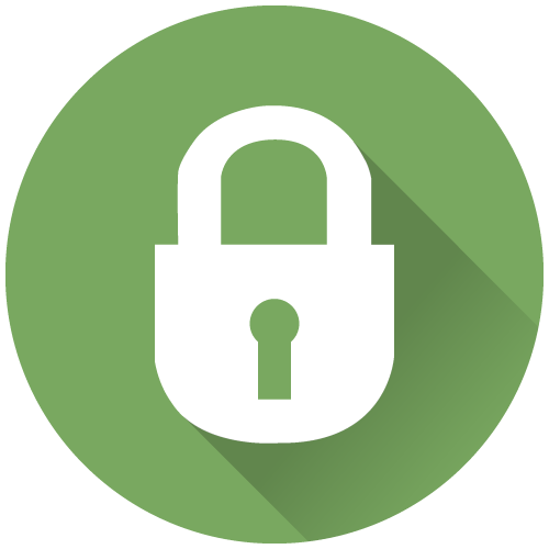 Green icon with with white padlock that represents safety