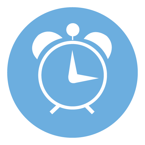 Blue circle with clock representing time