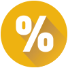 Yellow circle with percentage symbol
